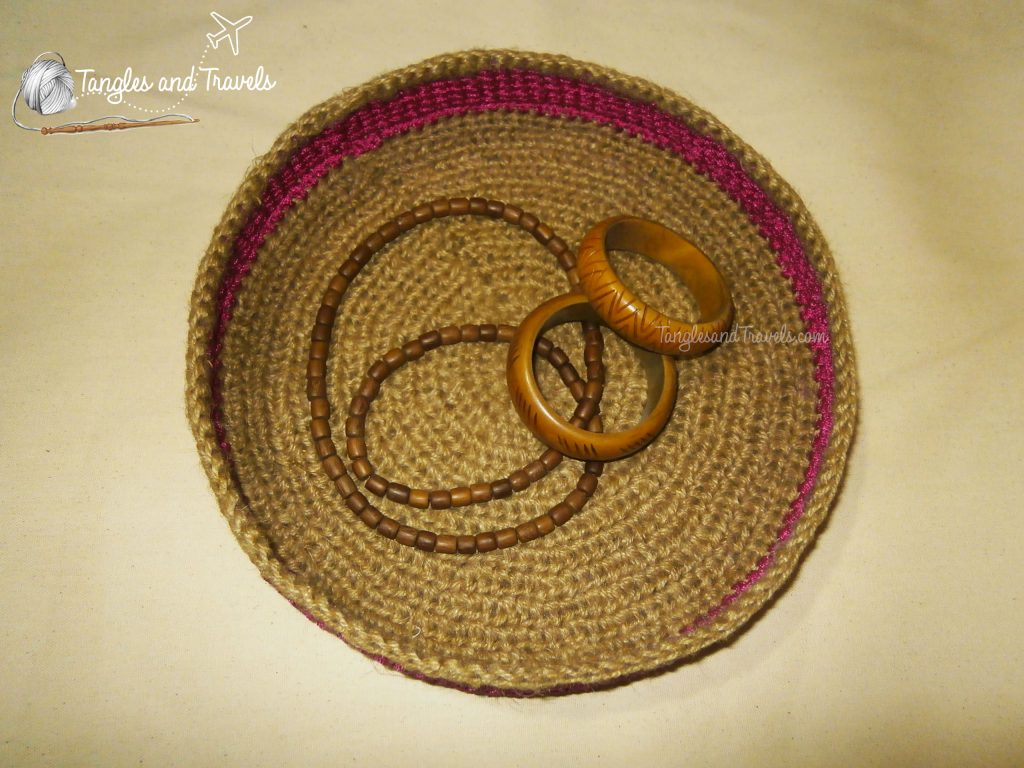 Crocheted Jute String and Cord  Basket
