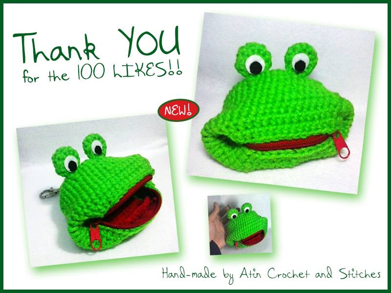 "My Thank You Ad on Facebook (the old name of my page was ""Atin Crochet and Stitches"") featuring my own creation and design of Froggy Purse. I literally did a lot of frogging to nail the froggy look."