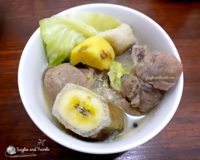 Pochero sans Tomato Sauce (Pork Hock Soup with Taro and Camote)